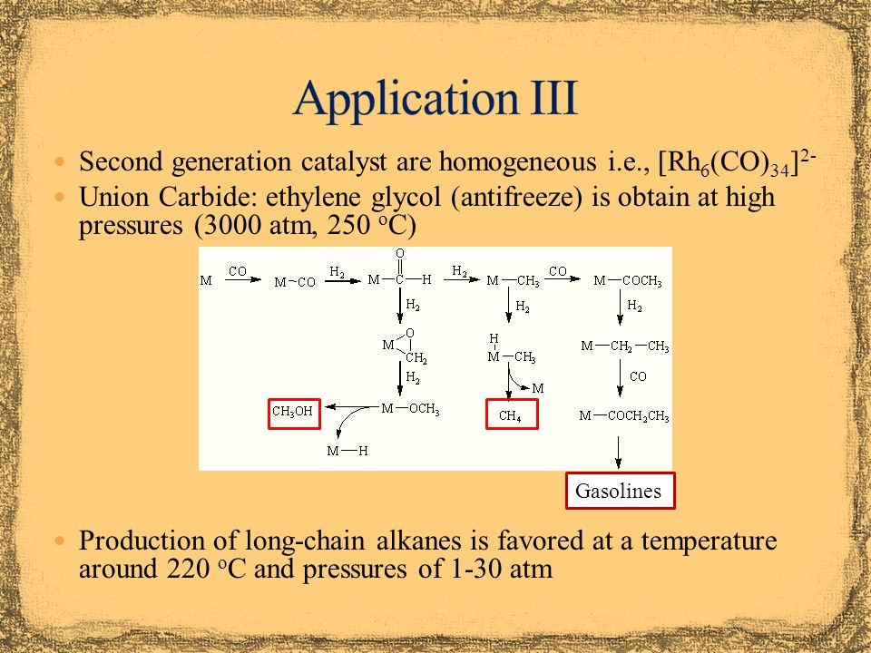 Application III Second generation catalyst are homogeneous i.e., [Rh6(CO)34]2-